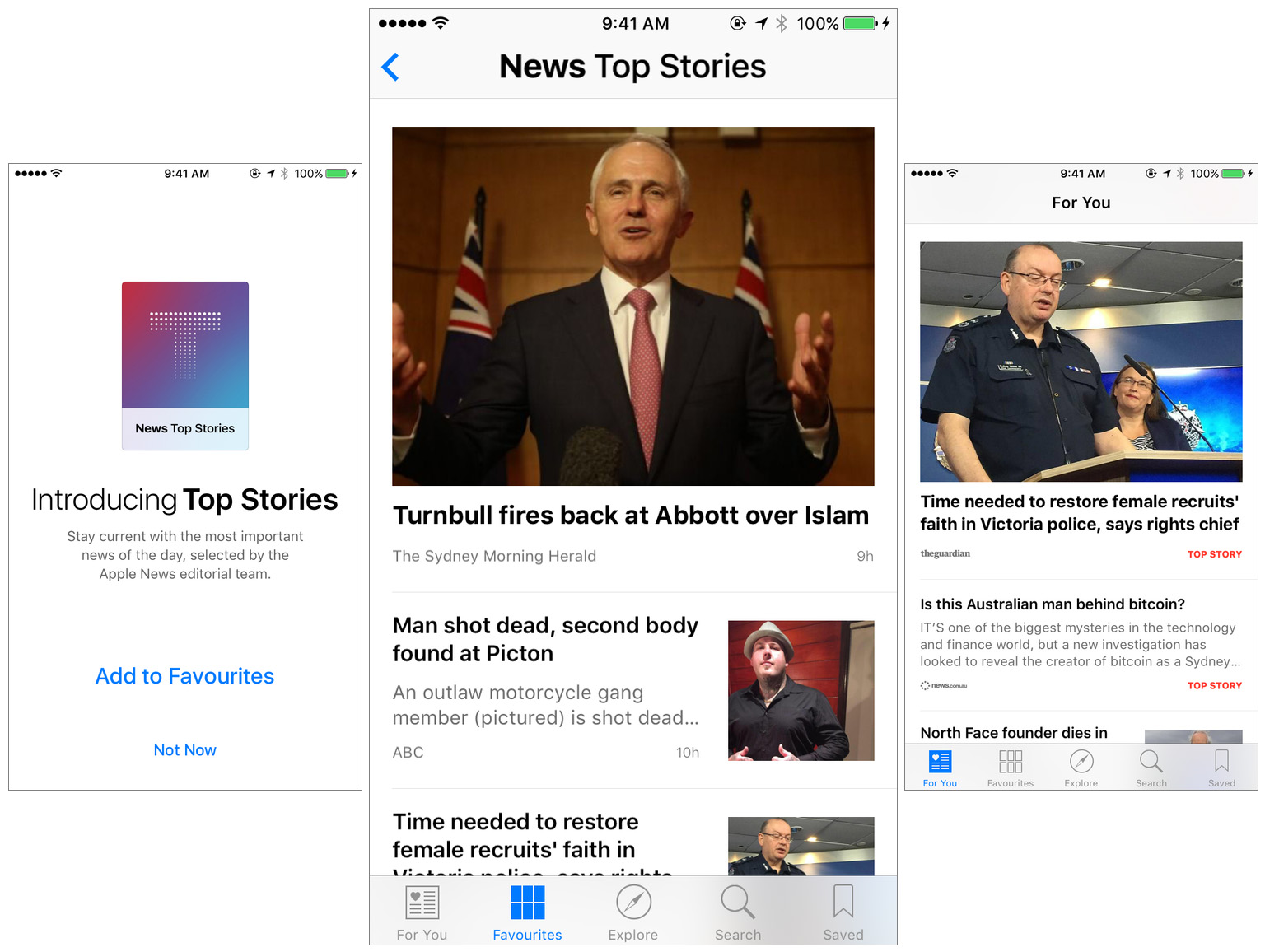 (L-R) The Apple News launch screen after you update to iOS 9.2, the Top Stories channel in my Favorites section, the For You section which features Top Stories (note the red tag on the right).