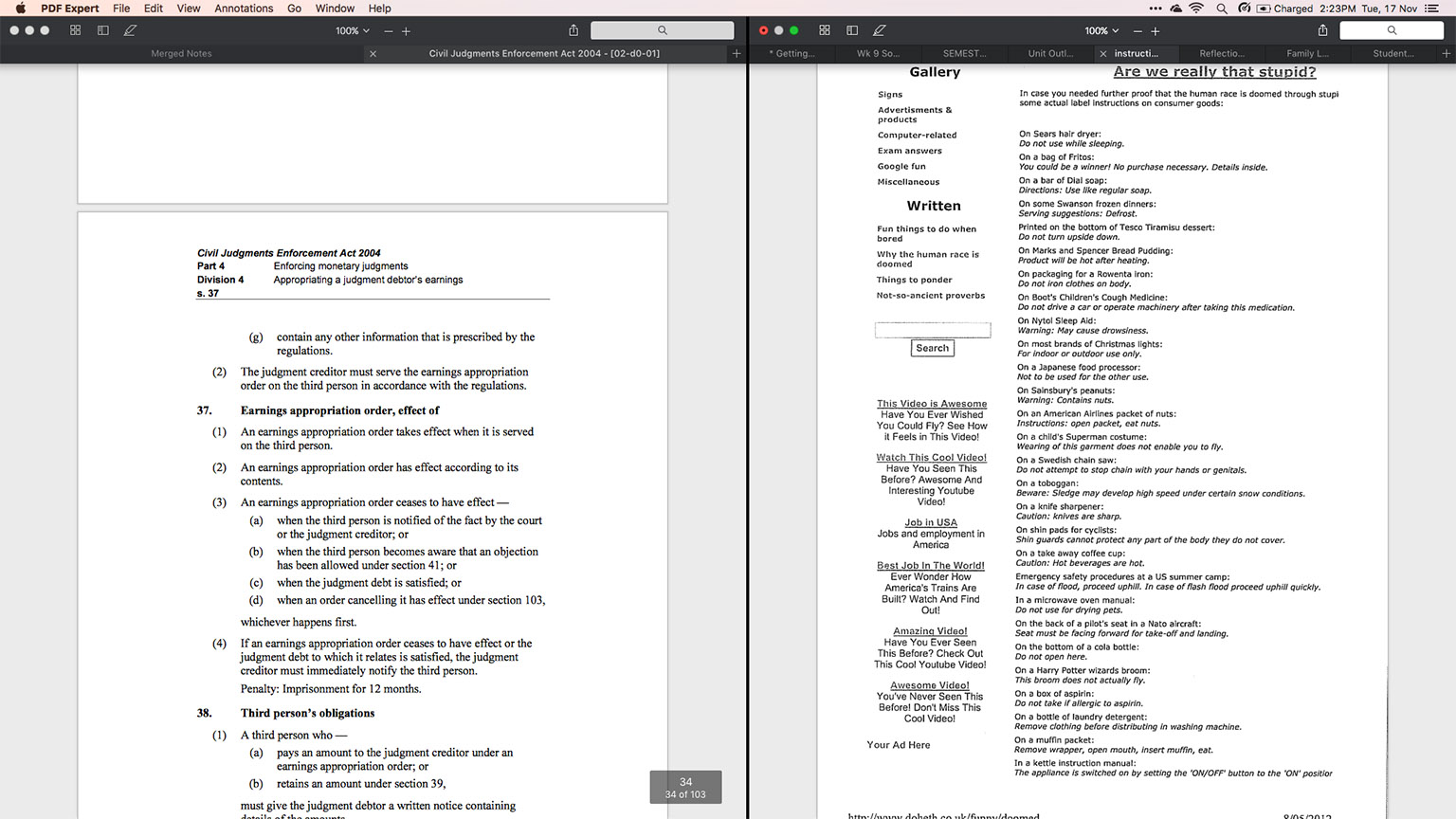Two windows of PDF Expert, each with multiple tabs, in Split-Screen Mode on OS X Yosemite