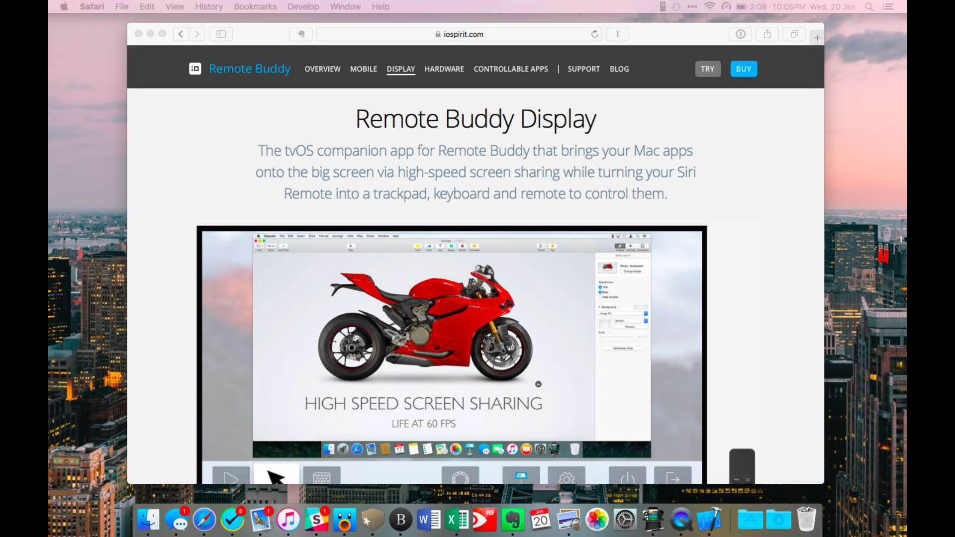 When you use Remote Buddy Display, it mirrors your Mac in full screen.
