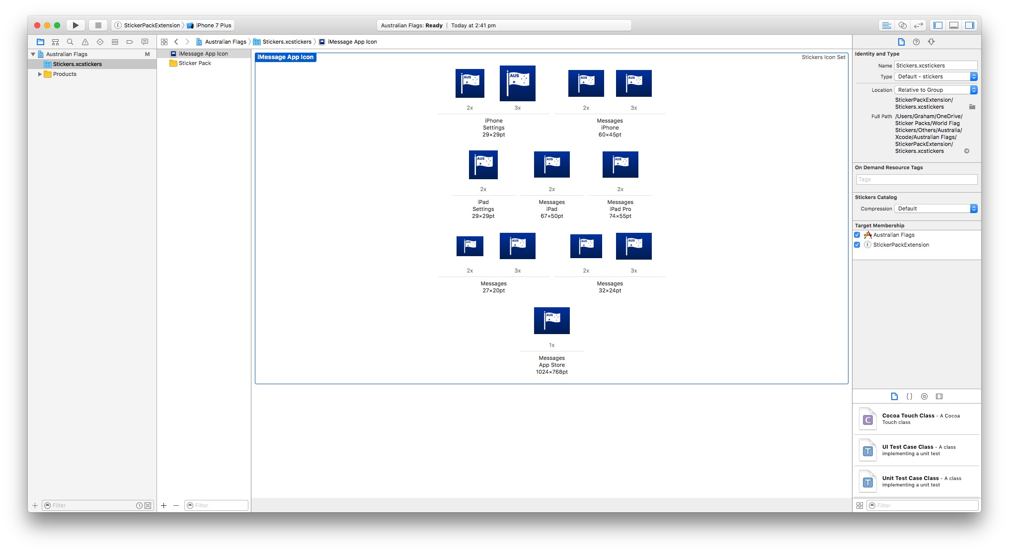 This is what Xcode should look like once you've inserted all the app icons.